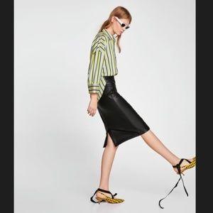 Zara High Waisted Black Vegan Leather Pencil Skirt